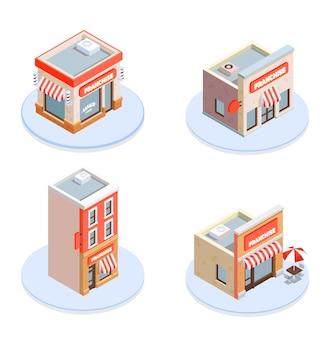 Izometryczne ikony koncepcji franczyzy z ilustracją symboli budynku i marki
