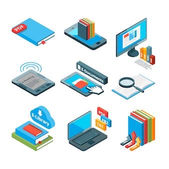 Izometryczne ikony książek elektronicznych