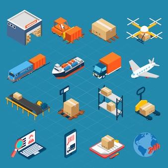 Izometryczne ikony logistyczne