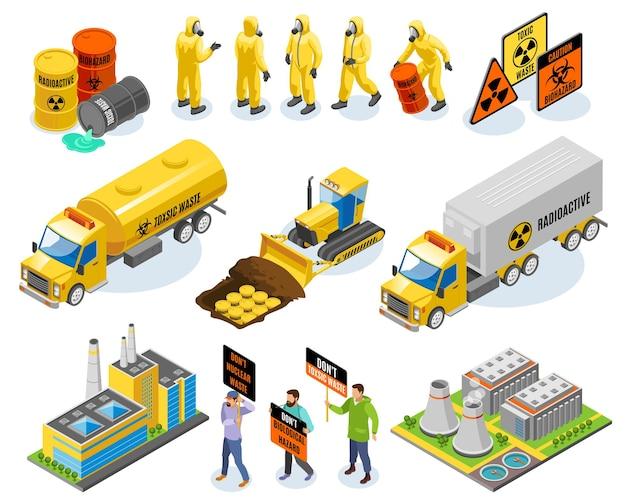 Izometryczne ikony odpadów toksycznych