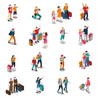 Izometryczne ikony podróży ludzi