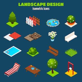 Izometryczne ikony projektowania krajobrazu