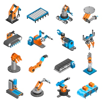 Izometryczne ikony robotów przemysłowych