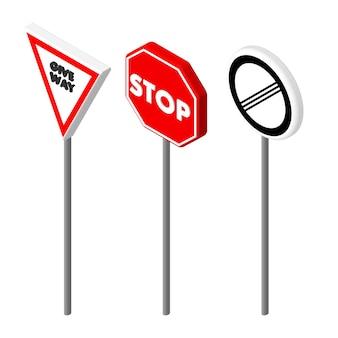 Izometryczne ikony różnych znak drogowy. projekt w stylu europejskim i amerykańskim. ilustracja wektorowa eps 10.