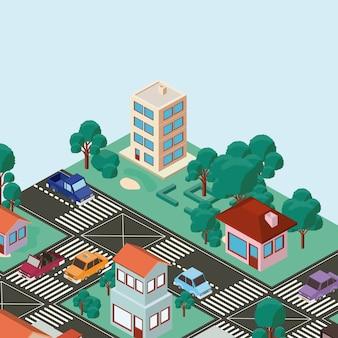 Izometryczne ikony sceny miasta
