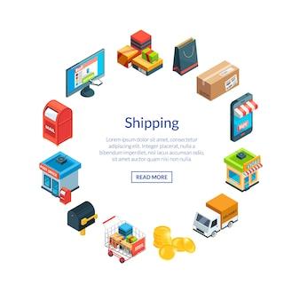 Izometryczne ikony wysyłki i dostawy