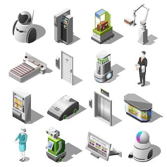 Izometryczne ikony zrobotyzowanych hoteli