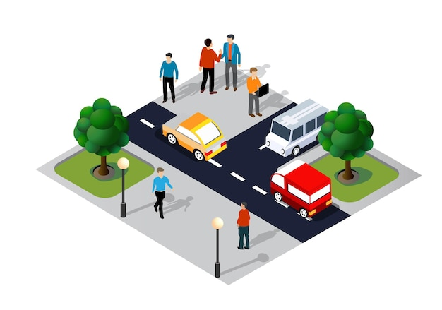 Izometryczne ilustracja 3d dzielnicy miasta z ulicami, ludźmi, samochodami