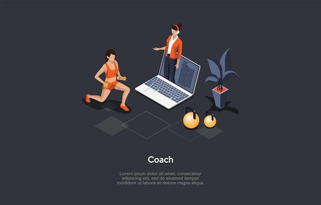 Izometryczne ilustracja 3d. kreskówka styl wektor skład na osobistej koncepcji trenera sportu online. zdalna gimnastyka, zdrowy styl życia i koncepcja ćwiczeń fitness. kobieta w odzieży sportowej, laptop.