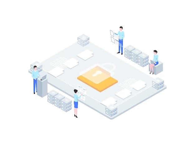 Izometryczne ilustracja bezpieczeństwa biznesu. nadaje się do aplikacji mobilnych, stron internetowych, banerów, diagramów, infografik i innych zasobów graficznych.