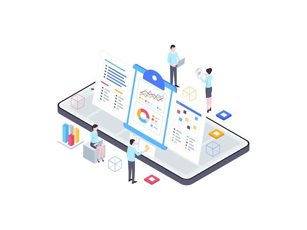 Izometryczne ilustracja biznes plan. nadaje się do aplikacji mobilnych, stron internetowych, banerów, diagramów, infografik i innych zasobów graficznych.