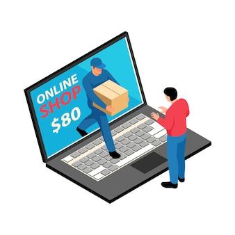 Izometryczne ilustracja dostawy sklepu internetowego z postaciami laptopa kuriera i klienta