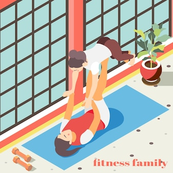 Izometryczne ilustracja fitness rodzinnego z postaciami kobiecymi wykonującymi ćwiczenia akrobatyczne w płaskiej sali gimnastycznej