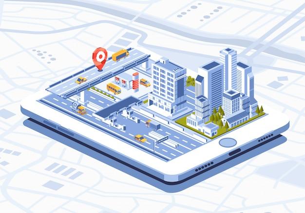 Izometryczne ilustracja inteligentnego miasta aplikacji mobilnej na tablecie