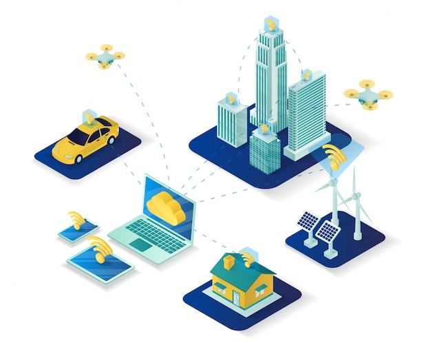 Izometryczne ilustracja inteligentnego miasta