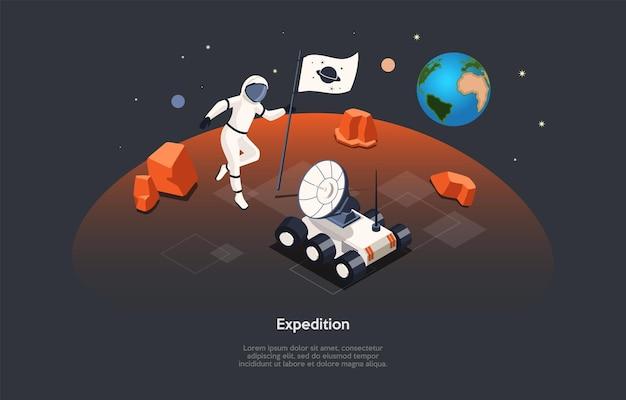 Izometryczne ilustracja. kompozycja w stylu kreskówki wektor, projektowanie 3d. znaki, pisanie i elementy na ciemnym tle. ekspedycja kosmiczna, proces eksploracji kosmosu, astronauta na powierzchni planety.