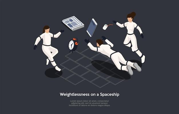 Izometryczne ilustracja. kompozycja w stylu kreskówki wektor, projektowanie 3d. znaki, pisanie i elementy na ciemnym tle. nieważkość na statku kosmicznym, trzech astronautów w strojach pływających, infografiki.