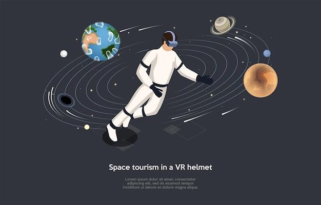 Izometryczne ilustracja. kompozycja w stylu kreskówki wektor, projektowanie 3d. znaki, pisanie i elementy na ciemnym tle. turystyka kosmiczna w kasku vr, szkolenie astronautów, interaktywna edukacja spaceman.