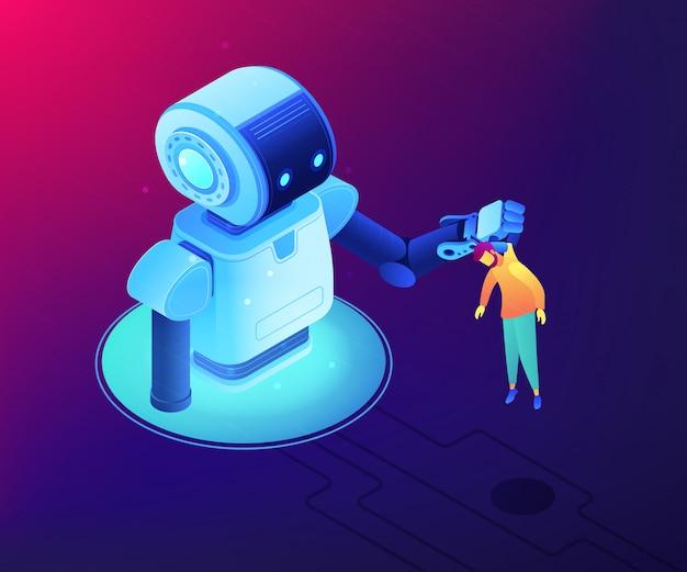 Izometryczne ilustracja koncepcja interakcji człowiek-robot.