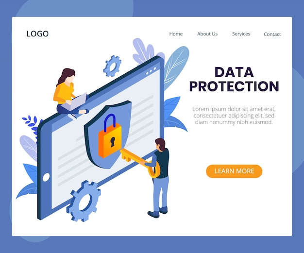 Izometryczne ilustracja koncepcja ochrony danych