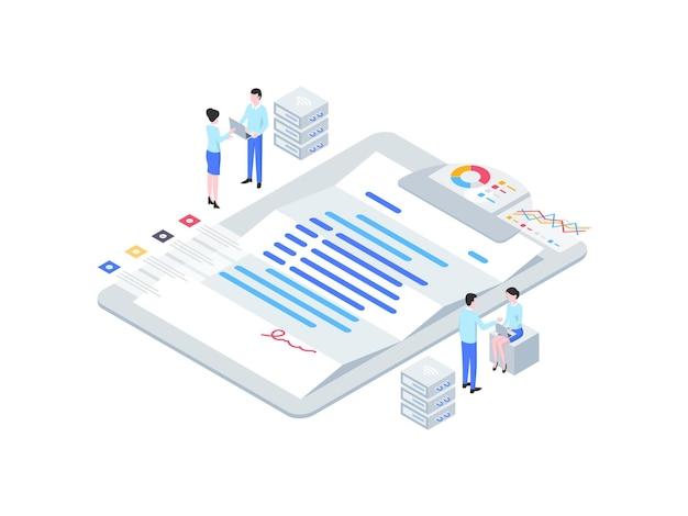 Izometryczne ilustracja kontraktu biznesowego. nadaje się do aplikacji mobilnych, stron internetowych, banerów, diagramów, infografik i innych zasobów graficznych.