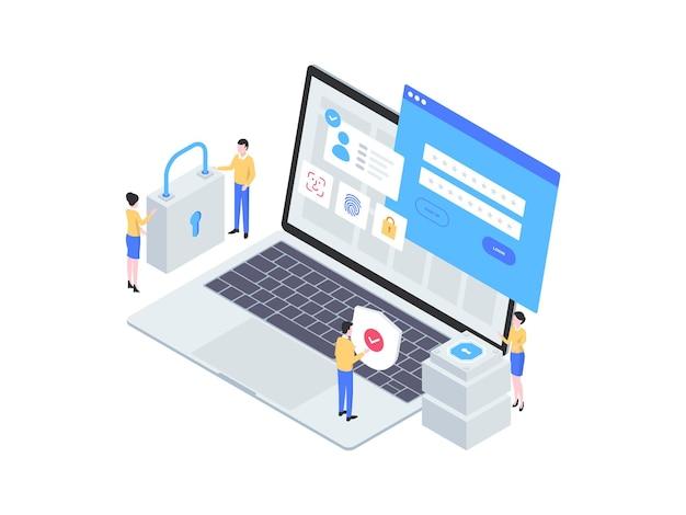 Izometryczne ilustracja logowania do pulpitu. nadaje się do aplikacji mobilnych, stron internetowych, banerów, diagramów, infografik i innych zasobów graficznych.