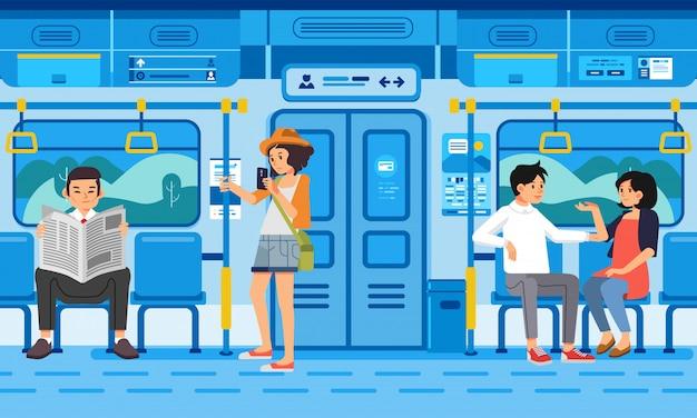 Izometryczne ilustracja ludzi pasażerów w pociągu nowoczesny transport publiczny, z krajobrazu wsi przez okno