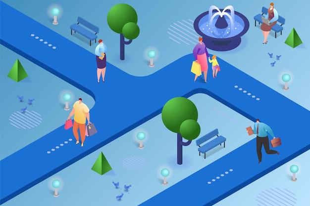 Izometryczne ilustracja miasta. ludzie mężczyzna kobieta postać spaceru w parku, miejskiego stylu życia na zewnątrz. droga miejska