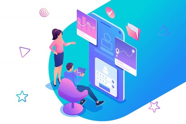 Izometryczne ilustracja młodych ludzi pracujących nad aplikacją