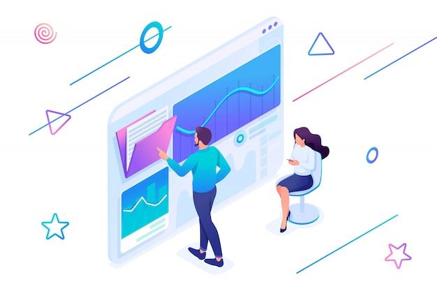 Izometryczne ilustracja młodych przedsiębiorców testujących narzędzia analizy statystycznej na tablecie.