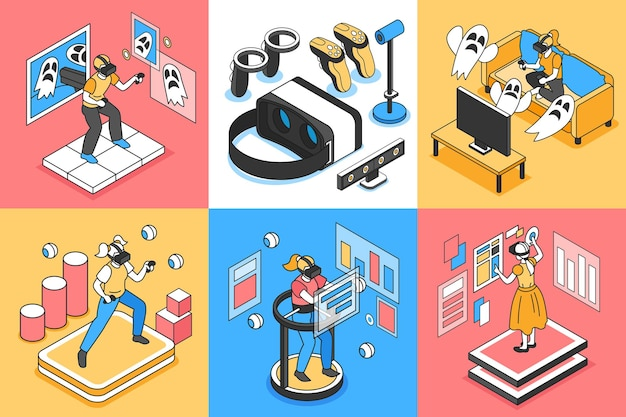Izometryczne ilustracja na białym tle wirtualnej rzeczywistości