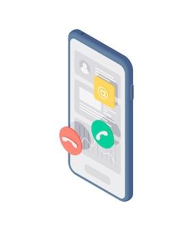 Izometryczne ilustracja nowoczesnego telefonu komórkowego