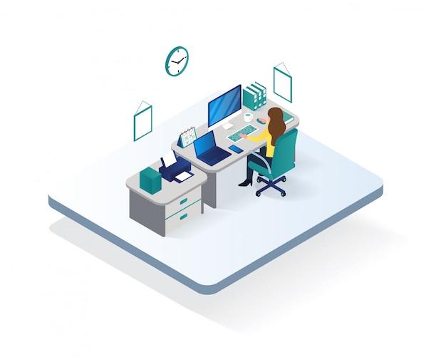 Izometryczne ilustracja obszaru roboczego biura