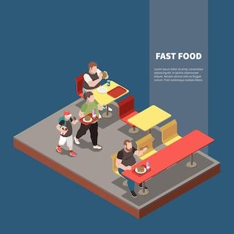 Izometryczne ilustracja obżarstwa z grubymi ludźmi w restauracji fast food 3d