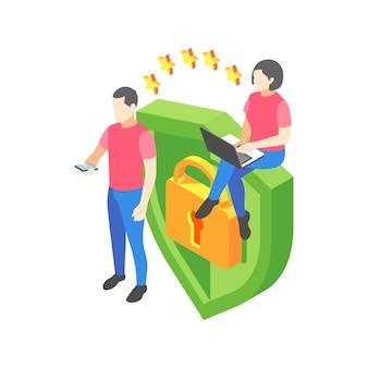Izometryczne ilustracja ochrony danych osobowych ze znakami blokady tarczy 3d