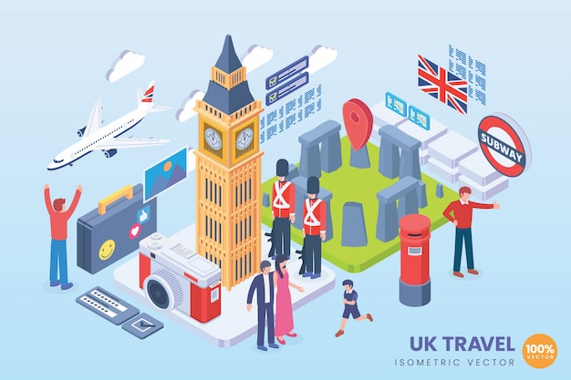 Izometryczne ilustracja podróży uk