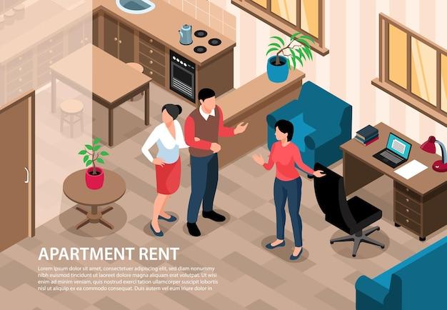 Izometryczne ilustracja pozioma nieruchomości z postaciami agenta i klientów