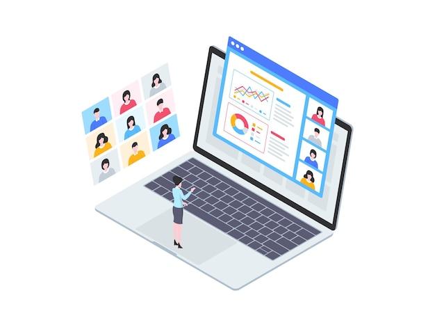 Izometryczne ilustracja prezentacji biznesowej. nadaje się do aplikacji mobilnych, stron internetowych, banerów, diagramów, infografik i innych zasobów graficznych.