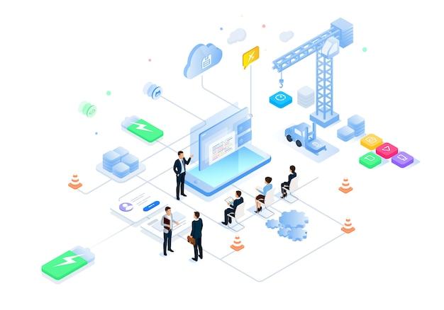 Izometryczne ilustracja przyszłego inteligentnego biura nauki i technologii