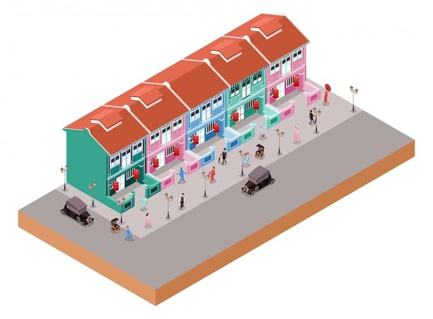 Izometryczne ilustracja reprezentująca stare kolonialne budynki w dzielnicy china town z ludźmi i klasycznymi samochodami
