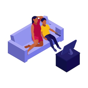 Izometryczne ilustracja rodziny siedzącej na kanapie przed telewizorem