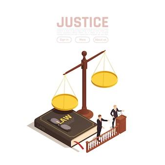 Izometryczne ilustracja sprawiedliwości prawa z ciężarkami z książką i ludźmi z przyciskami tekstowymi
