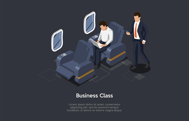 Izometryczne ilustracja w stylu cartoon 3d. wektor skład na ciemnym tle. koncepcja podróży samolotem klasy biznes. samolot wewnątrz, dwie postacie. pasażerowie w garniturach biznesowych. przytulne krzesła