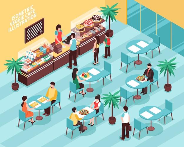 Izometryczne ilustracja wegetariańska kawiarnia