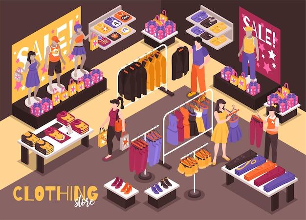 Izometryczne ilustracja wnętrza sklepu odzieżowego