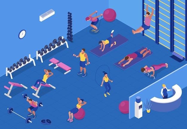 Izometryczne ilustracja z ludźmi wykonującymi trening cardio i siłowy ze sprzętem fitness na siłowni