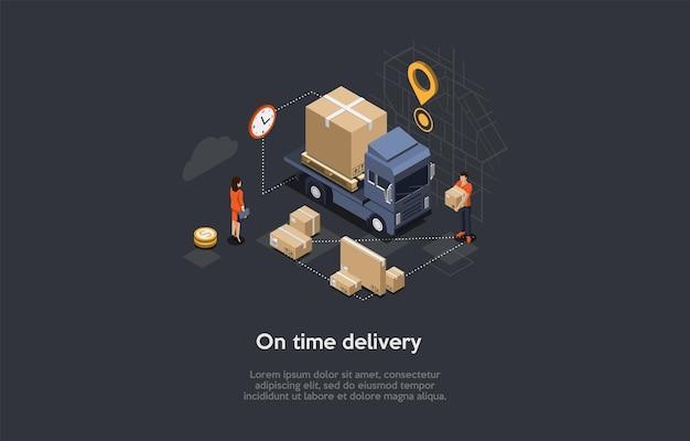 Izometryczne ilustracja z pisania i znaków. wektor składu w stylu 3d kreskówka na czas dostawy, przybycie zamówienia internetowego, koncepcja usługi transportu towarów. ciężarówka z przesyłkami, pracownik.
