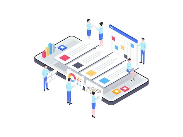 Izometryczne ilustracja zarządzania projektem. nadaje się do aplikacji mobilnych, stron internetowych, banerów, diagramów, infografik i innych zasobów graficznych.