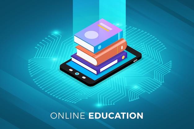 Izometryczne ilustracje projekt koncepcyjny rozwiązanie technologiczne na szczycie z e-learningiem