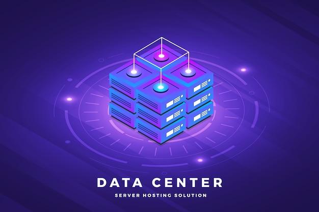 Izometryczne ilustracje projekt koncepcyjny rozwiązanie technologiczne na wierzchu z dużym serwerem danych